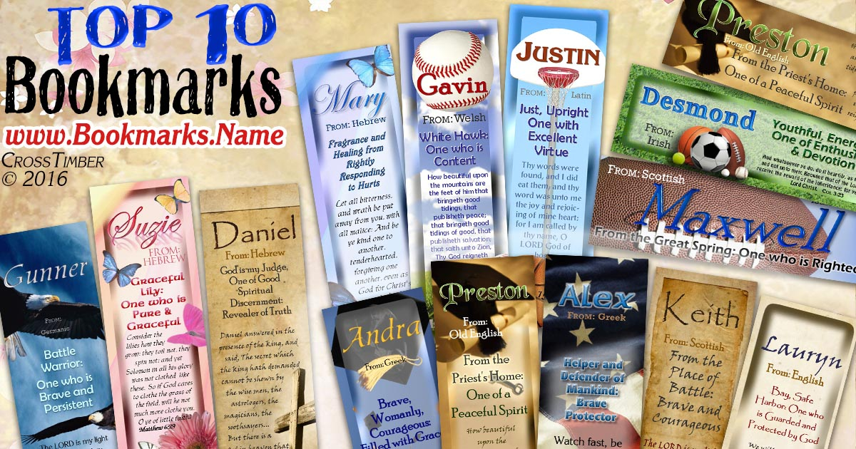 Our bestseller personalized bookmarks with name meanings