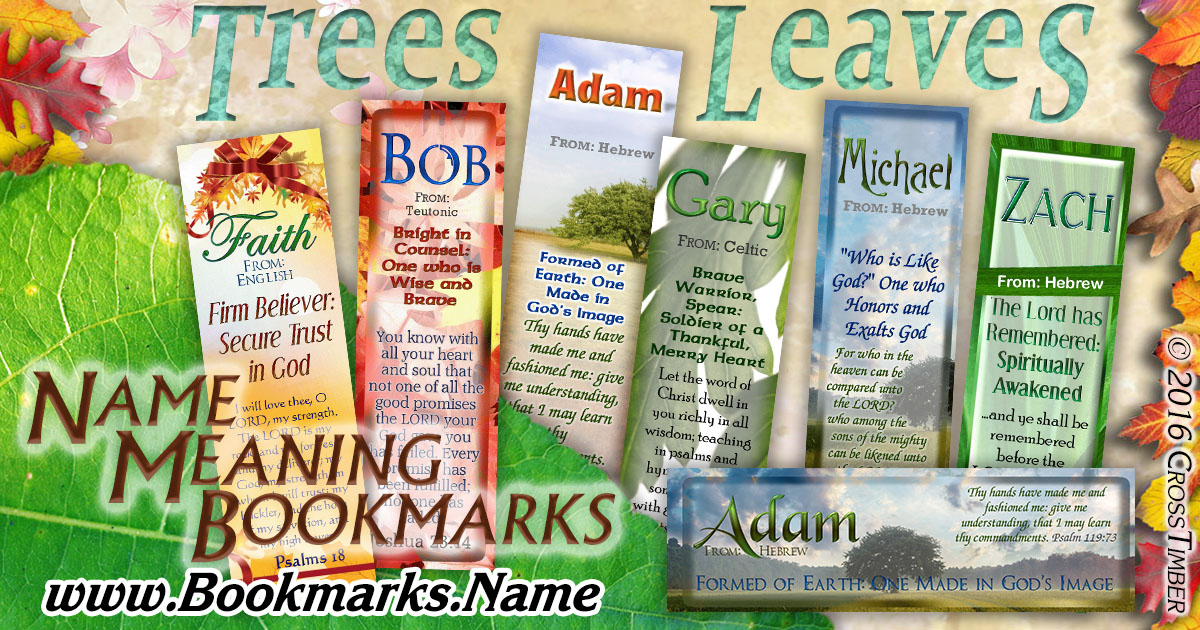 Christian name bookmarks with name meaning and images of Trees and Leaves